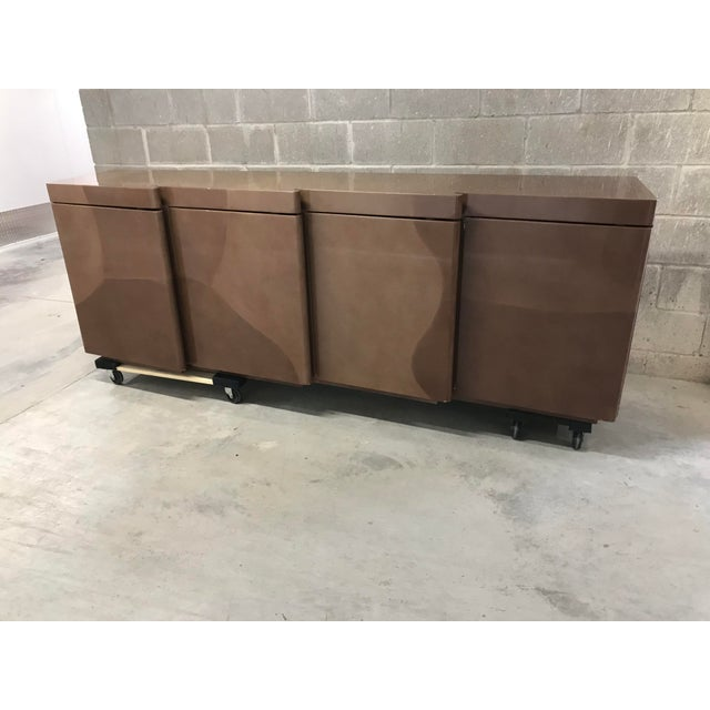 Hollywood Regency 1960s Hollywood Regency Altro Taru Style Brown Faux Goatskin Lacquered Sideboard For Sale - Image 3 of 10