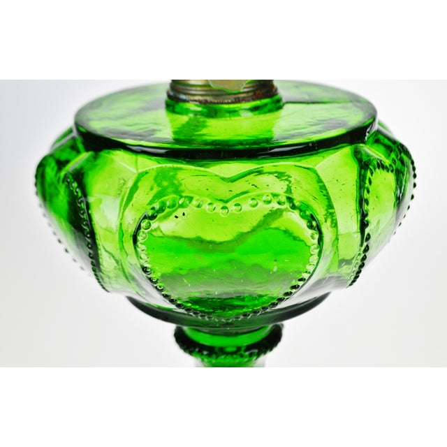 Vintage Emerald Green Glass Oil Lamp W/ Heart Design For Sale - Image 10 of 12