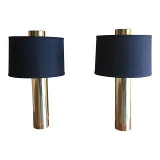 Modernist Brass Column Lamps - a Pair