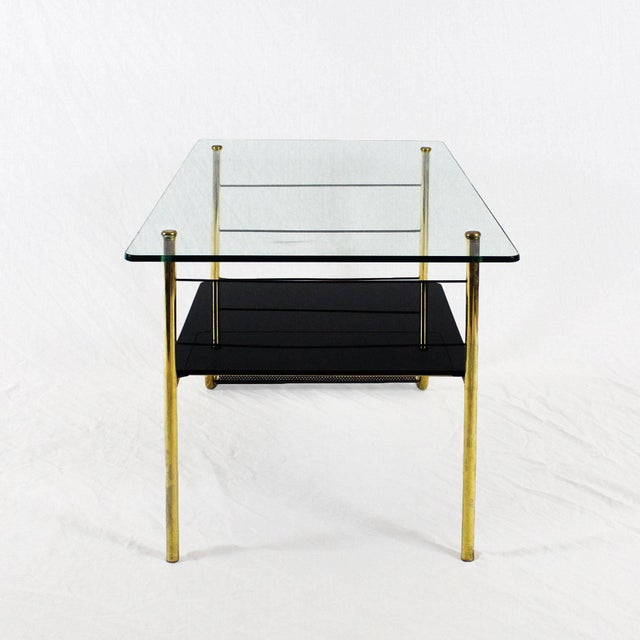 1960s 1960s Coffee Table by Pierre Guariche, Brass, Bronze, Opaline, Glass - France For Sale - Image 5 of 9