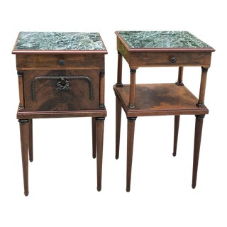 Pair Antique French Neoclassical Mahogany Marble Top Nightstands For Sale