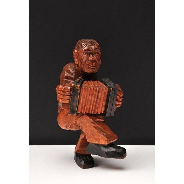 Brown Accordion Player in German Expressionist Style For Sale - Image 8 of 11