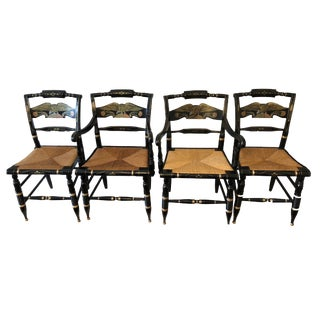 1980s Americana Ethan Allen American Eagle Black Hitchcock Dining Chairs - Set of 4 For Sale