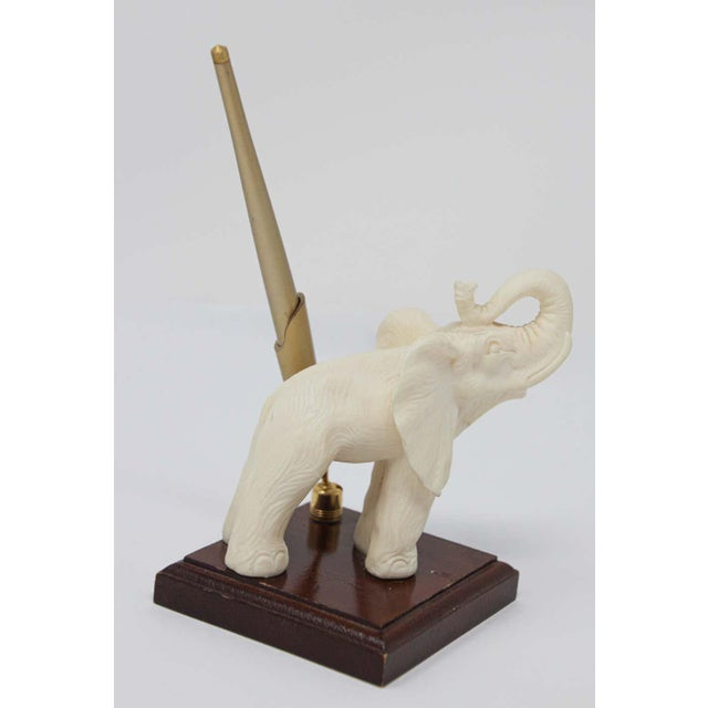 Mid 20th Century Vintage White Elephant Sculpture Pen Holder For Sale - Image 5 of 13