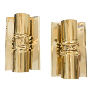 Brutalist Italian Brass Sconces - A Pair For Sale