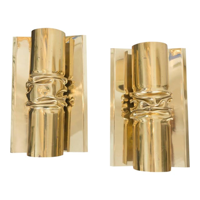 Brutalist Italian Brass Sconces - A Pair - Image 1 of 6