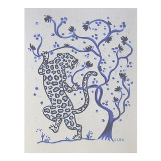 Climbing Leopard Chinoiserie Painting by Cleo Plowden For Sale