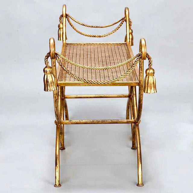 Mid-Century Gilt Metal Neoclassical Bench - Image 4 of 8