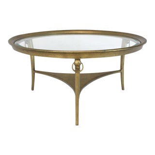 Round Three Legs Base Metal Coffee Table For Sale