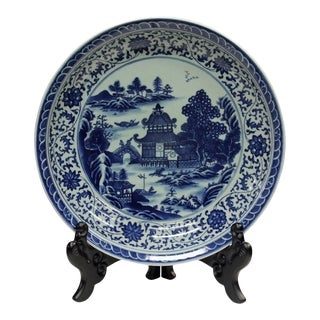 Chinese Blue & White Porcelain Oriental Scenery Display Charger Plate