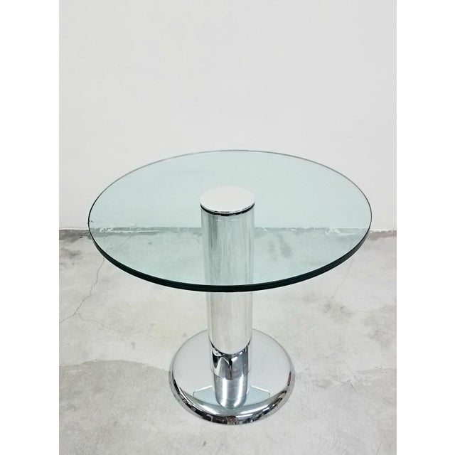 Pace Vintage Round Chrome and Glass Center Table For Sale - Image 4 of 7