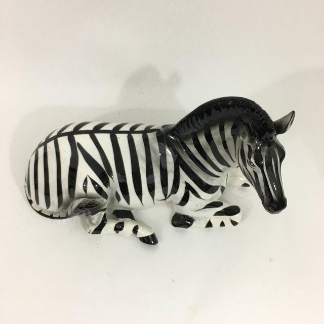 White Zebra Ceramic Figure Statue For Sale - Image 8 of 10