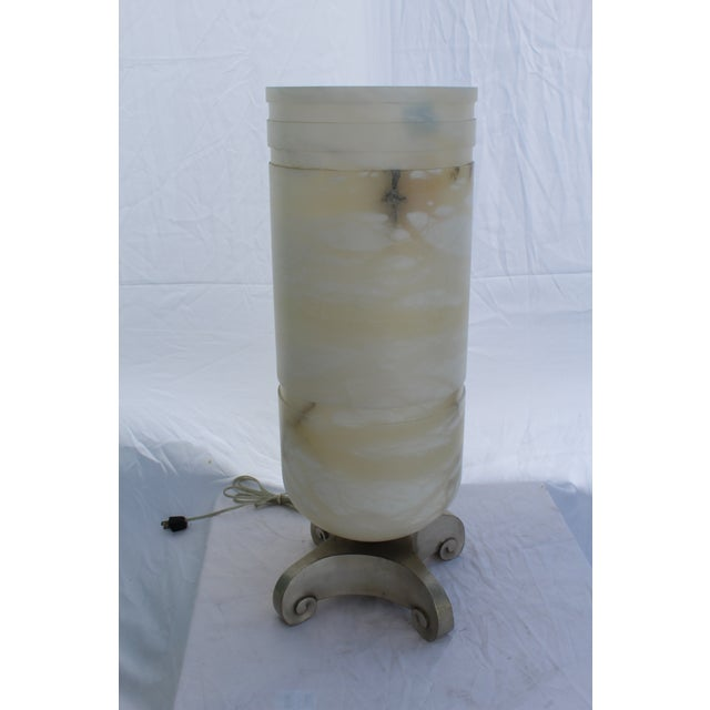 Metal Art Deco Alabaster Shade and Bronze Base Lamp For Sale - Image 7 of 7