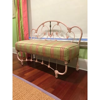 Pink Rod Iron Bench With Soft Fabric Cushion Preview