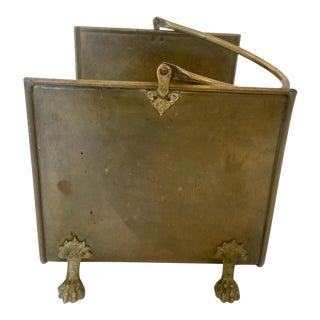 Antique English Brass Lion Feet Fireplace Log Holder For Sale