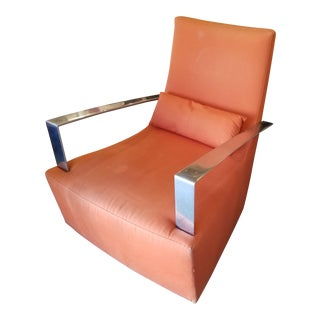 Ligne Roset Orange Fabric Rocking Chair
