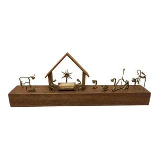1960s Vintage Wood & Brass Minimalist Manger Scene For Sale