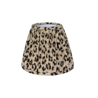 Gathered Black and Tan Leopard Lamp Shade For Sale