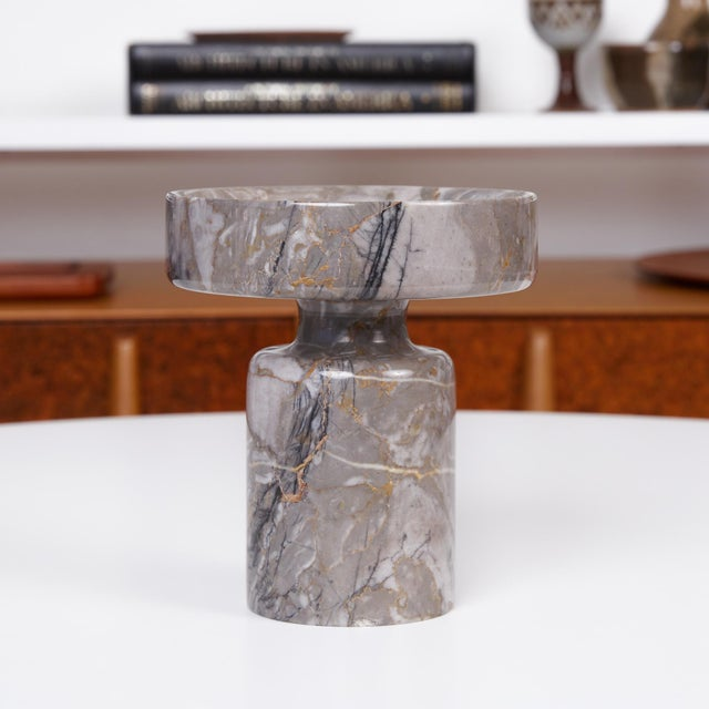Mid-Century Modern Angelo Mangiarotti Double Sided Marble Vase for Knoll For Sale - Image 3 of 12