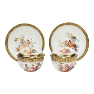 Antique Meissen Porcelain Covered Tea Cups and Saucers, 19th Century - A Pair For Sale