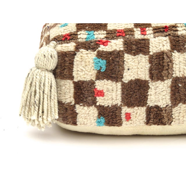 Vintage Mid Century Checkered Berber Pouf For Sale - Image 9 of 11