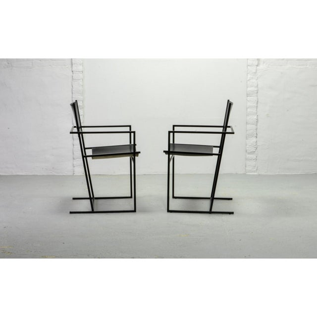 1980s Set of Two Mid-Century Dutch Design Black Leather and Metal Dining Chairs Ag-6 by Albert Geertjes, the Netherlands, 1984 For Sale - Image 5 of 11