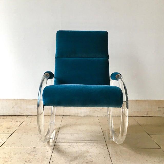 A Charles Hollis Jones designed Peacock Velvet Upholstered Lucite Framed Rocking Chair 1970s Reupholstered by Talisman....