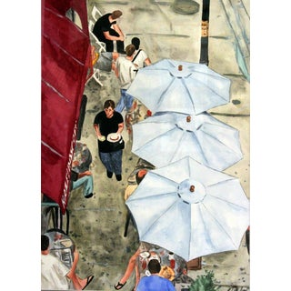Giclee Print Looking Down On A Chicago Cafe For Sale