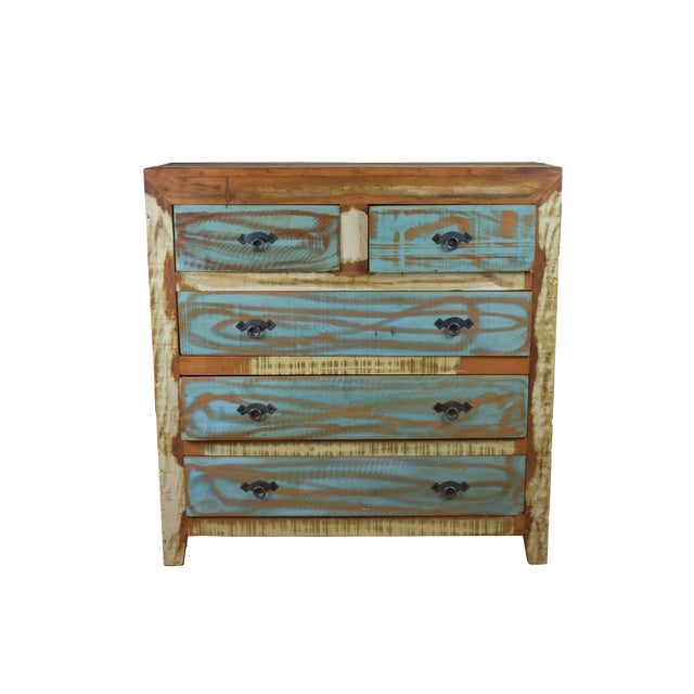 5 Drawer Reclaimed Peroba Wood Handmade Eco-Friendly Dresser For Sale