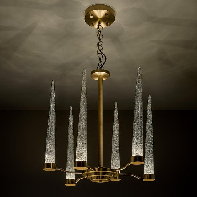 Hollywood Regency English Brass Icicle Ceiling Light For Sale - Image 3 of 5