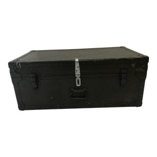 Vintage Industrial Wood Hard Shell Military Storage Foot Locker Trunk For Sale