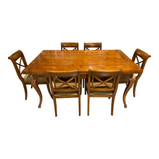 Baker Furniture French Country Harvest Farm Table With 8 Matching Chairs - 9 Pieces For Sale