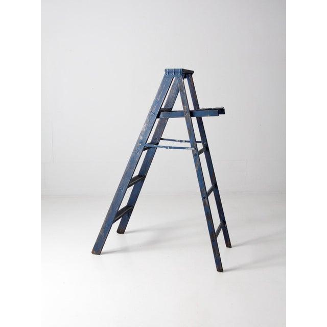 Vintage Blue Wooden Ladder For Sale - Image 6 of 10