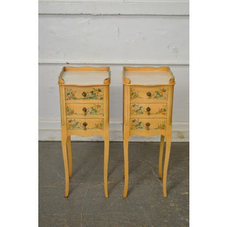 French Country Pair of Vintage Yellow Floral Painted 3 Drawer Stands Preview