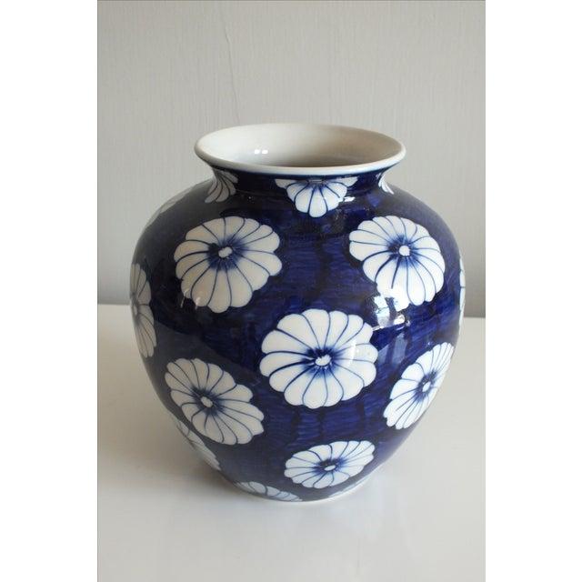Stylized Floral Blue & White Bulbous Ceramic Vase - Image 3 of 7