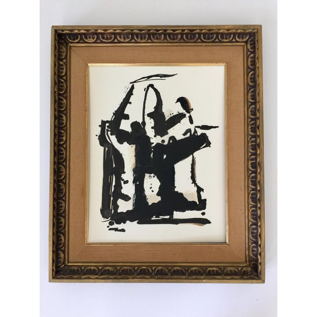 Abstract Black and White and Sienna Ink Painting For Sale - Image 4 of 4