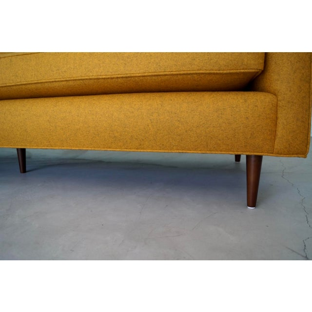 Mid-Century Modern Sofa Reupholstered in Orange Wool For Sale - Image 12 of 13