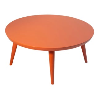 Russell Wright for Conant Ball Coffee Table in Coral Lacquer For Sale