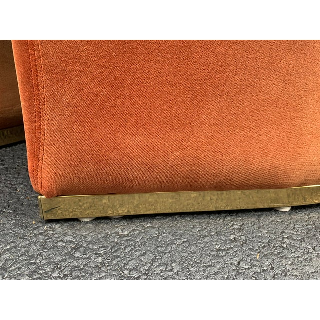 1980's Velvet Chairs With Brass Base - Set of 4 For Sale - Image 10 of 13