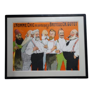 Albert Guillaume Advertisement for Charles Guyot Suspenders Lithographic Poster 1906 For Sale