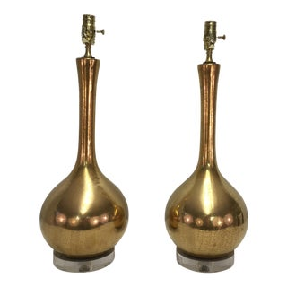 Mid Century Gold Gourd Lamps - A Pair For Sale