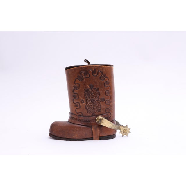 Genuine Leather Cowboy Boot Cigar / Tobacco canister in Very good condition. Movable Connected Brass Spur pushes up the...