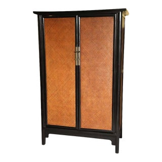Elmwood and Woven Rattan Lacquered Large Cabinet From 19th Century, China For Sale