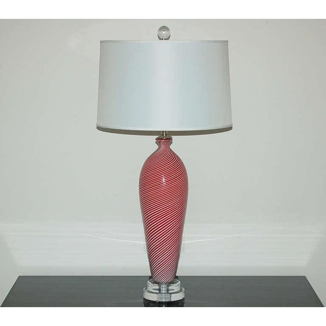 Dino Martens Dino Martens Murano Glass Table Lamps Red Pin Stripes For Sale - Image 4 of 7