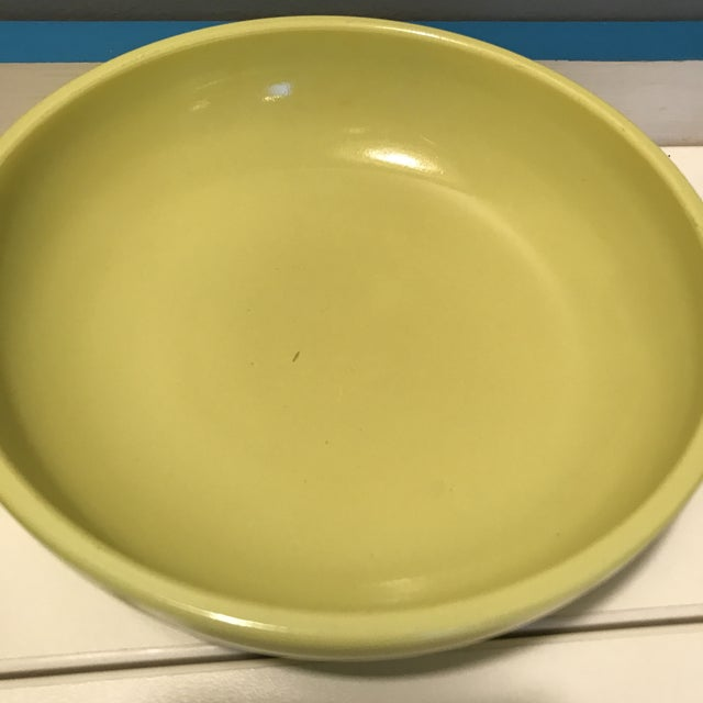 Glass 1930s Vintage Hazel Atlas Green & Yellow Salad Serving - Set of 5 For Sale - Image 7 of 13
