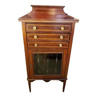 Edwardian Mahogany Inlaid Music Cabinet For Sale