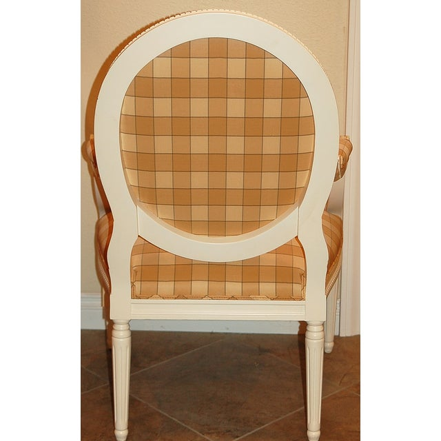 Oval-Back Plaid Upholstered Armchair - Image 4 of 6