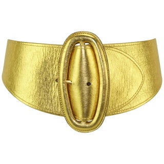 1980's Donna Karan Sculptural Gold Leather Belt For Sale