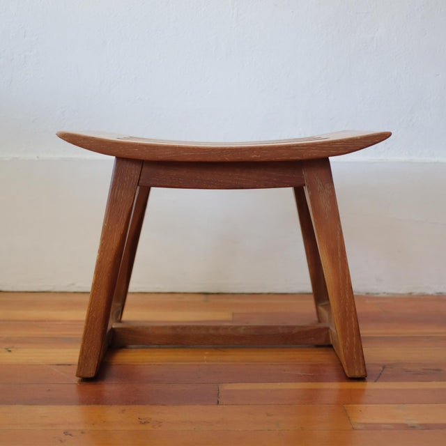 Cerused Oak Stool, 1940s For Sale - Image 4 of 11