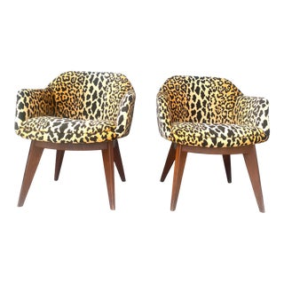 Vintage Mid-Century Modern Upholstered Compass Leg Chairs - a Pair